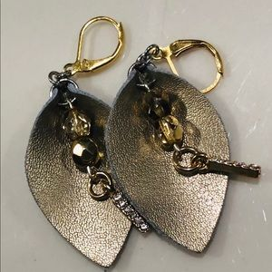 Genuine Leather Earrings with Hand Beaded Details